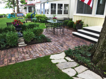 Delavan Lake Home Entrance Patio Repurposed Brick Pavers