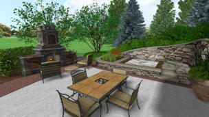 3D Rendering of back patio with fireplace and hot tub