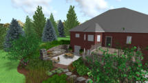 3D Design of back yard patio and plantings