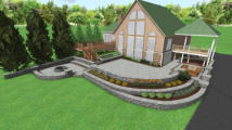 3D Rendering of patios and walls on sloped property