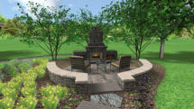 3D Rendering of Backyard Fireplace Patio