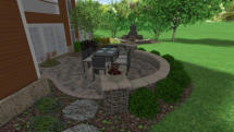 3D Rendering of backyard patio and retaining walls
