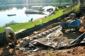 Installing Lakeside Retaining Wall