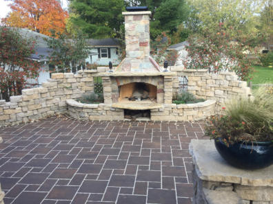Permeable patio and fireplace