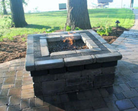 Custom Built Gas Firepit with Fire Glass on Delavan Lake