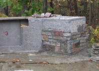 Building a Grill Island - Adding the stone veneer