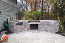 Building a Grill Island - Stone Veneer Completed