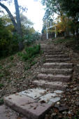 Steps up to lake house
